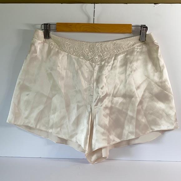 Vintage 100% Silk & Lace Sleep Shorts Size Large